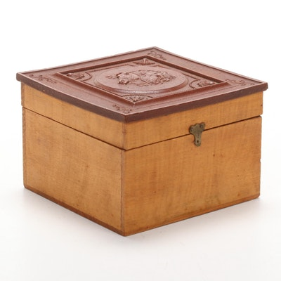 Scovill Mfg Co. Wood Collar Box with Gutta-Percha Lid, Late 19th Century