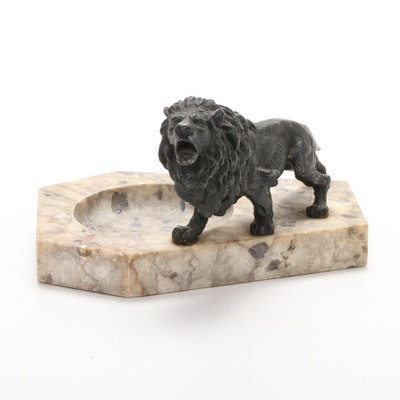 Stone Coin Tray with Metal Lion Figurine, Early 20th Century