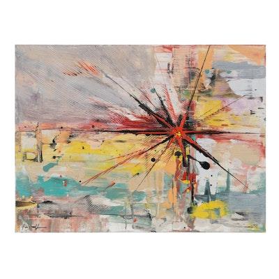 Farshad Lanjani Abstract Expressionist Acrylic Painting, 21st Century