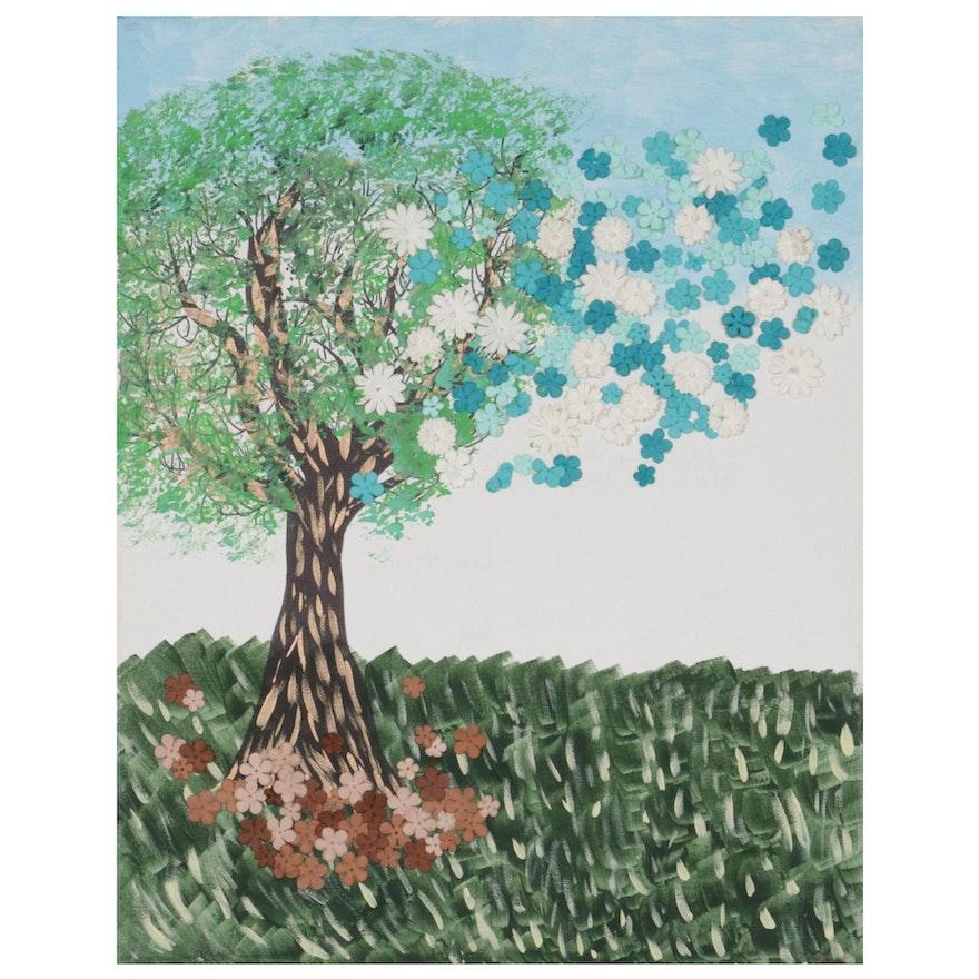 "Folk Art Mixed Media Painting ""Soli Deo Gloria,"" 2012"