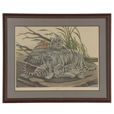 """John A. Ruthven Offset Lithograph """"White Tiger,"""" Late 20th Century"""