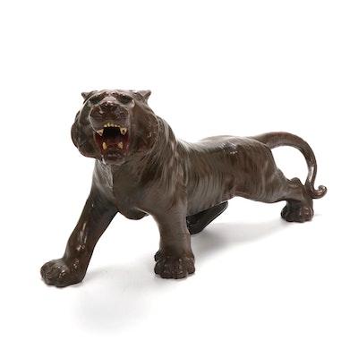 Japanese Bronze Cast Tiger Sculpture
