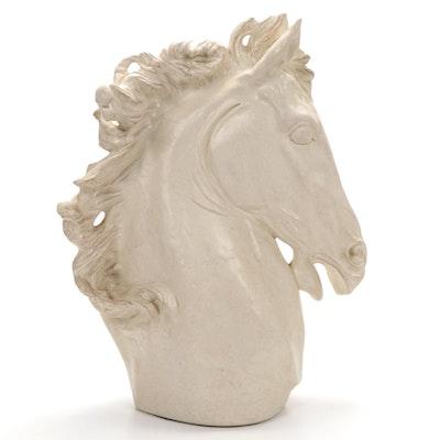 Plaster Stallion Bust Sculpture