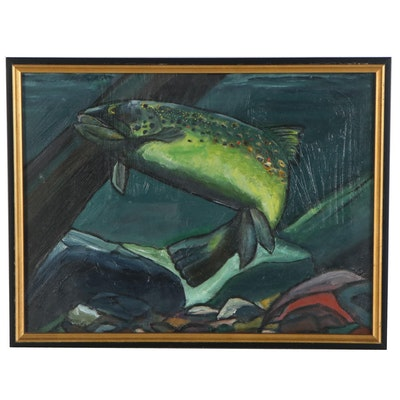 Marty Cooper Oil Painting of Rainbow Trout, 2001