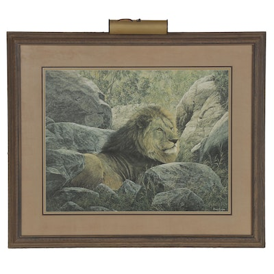 """Simon Combes Offset Lithograph """"Serengeti Monarch,"""" Late 20th Century"""