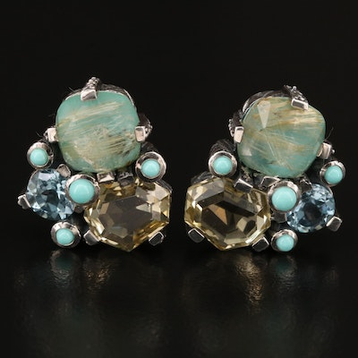 Stephen Dweck Sterling Rutilated Quartz Doublet, Citrine and Topaz Clip Earrings
