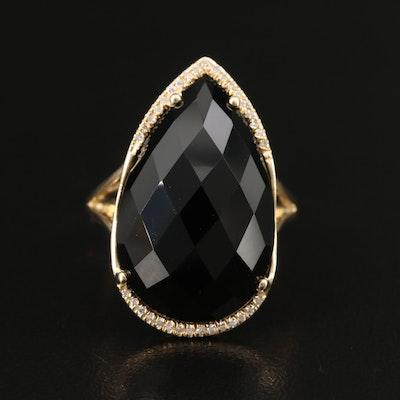 EFFY 14K Black Onyx and Diamond Teardrop Ring