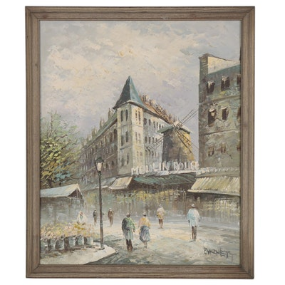Impressionist Oil Painting attributed to Caroline Burnett of Moulin Rouge