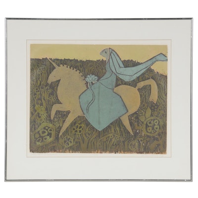 "Barbara Young Woodblock ""Once Upon a Unicorn,"" Late 20th Century"