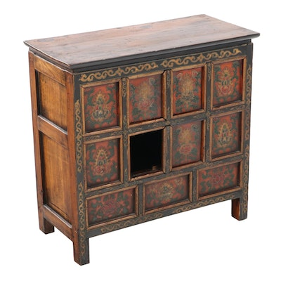 Small Sino-Tibetan Polychrome-Decorated Hardwood Cabinet