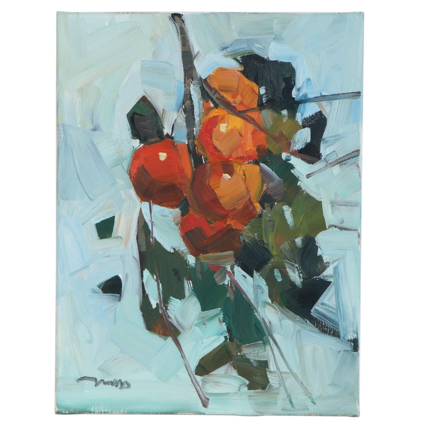 "Jose Trujillo Oil Painting ""Oranges,"" 2020"