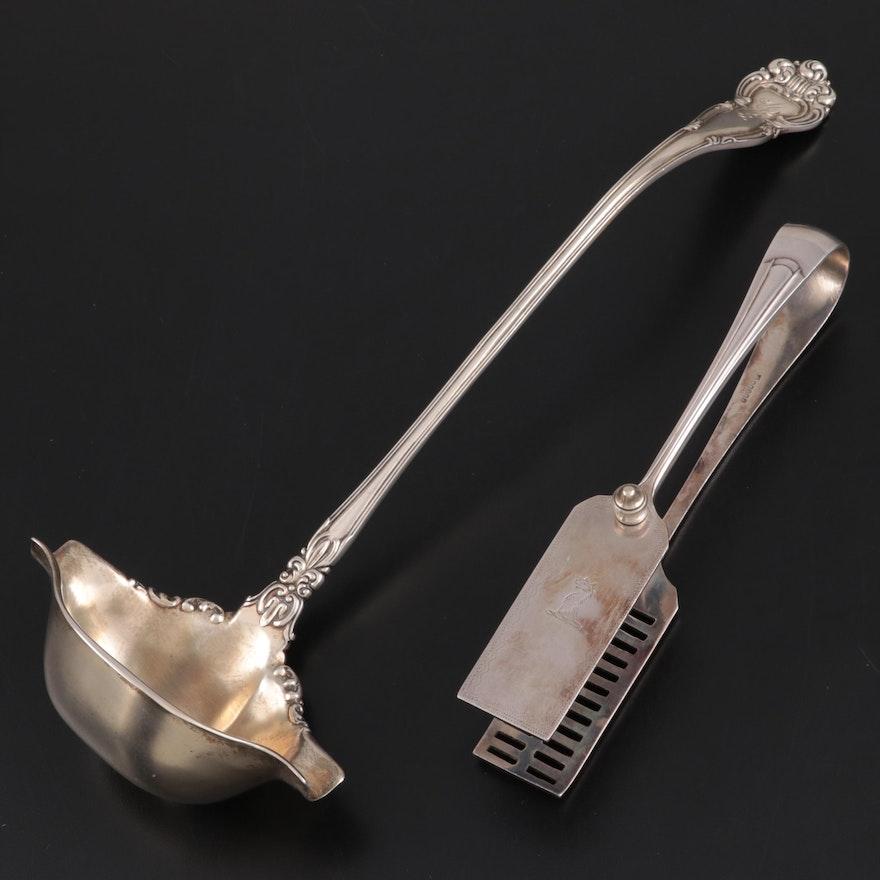 Knowles Sterling Silver Ladle with Thomas Bradbury Silver Plate Asparagus Tongs