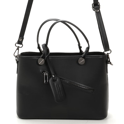 Italian Leather Two-Way Top Handle Bag in Black