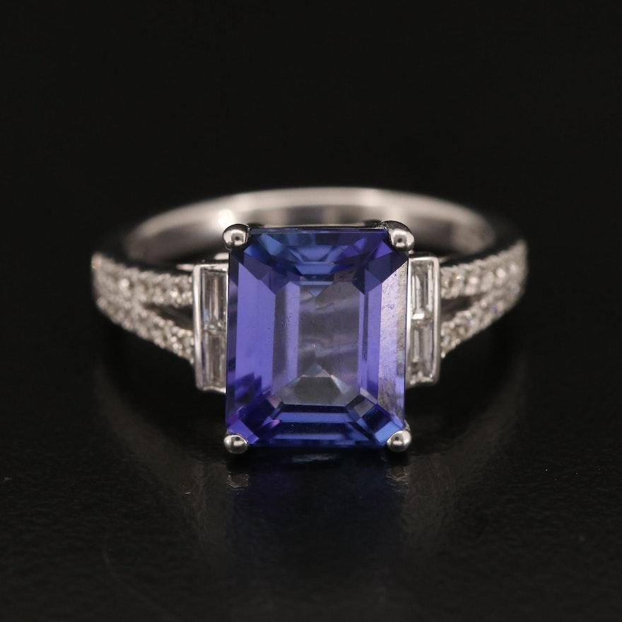 EFFY 14K 4.07 CT Tanzanite and Diamond Ring