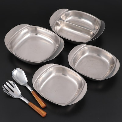 Swedish Fraser Stainless Serving Bowls and Butterscotch Handled Salad Servers