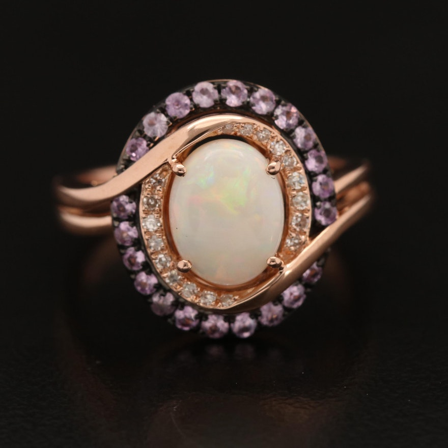 EFFY 14K Opal, Sapphire and Diamond Halo Ring