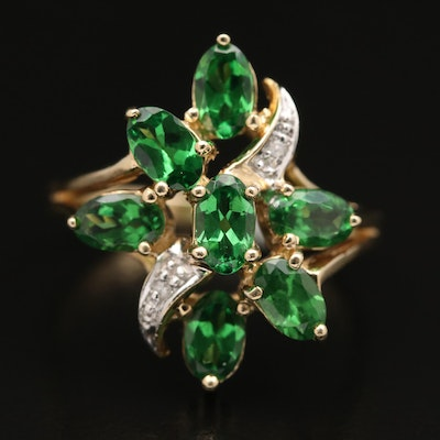 10K Diopside and Diamond Cluster Ring
