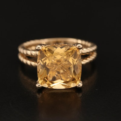 EFFY 14K 7.00 CT Citrine and Diamond Ring