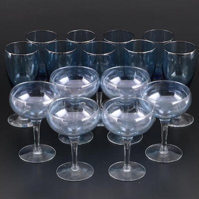 Blue and Clear Glass Champagne Coupes and Water Goblets, Mid-20th Century