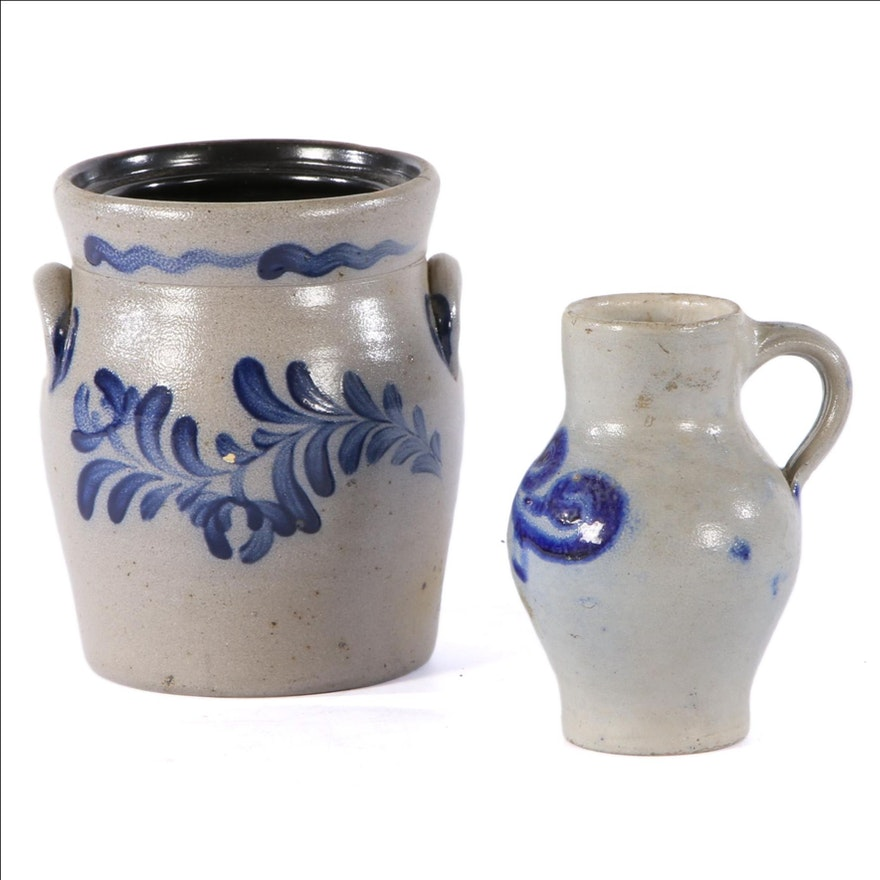 Rowe Pottery Works Salt Glazed Stoneware Crock and Other Pitcher Vase