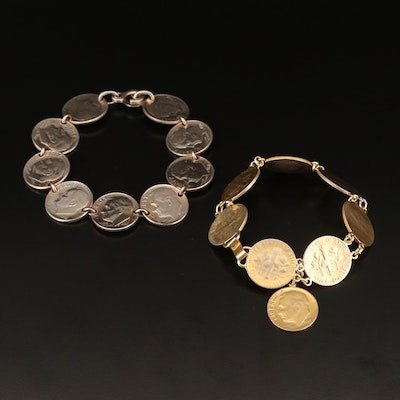 Bracelets with Roosevelt Silver Dimes and Roosevelt Clad Dimes