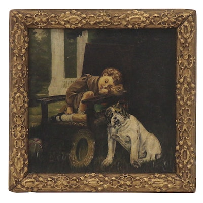 Oil Painting of Child and Bulldog, Early 20th Century