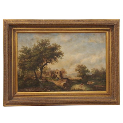 Pastoral Landscape Oil Painting, Early-Mid 20th Century