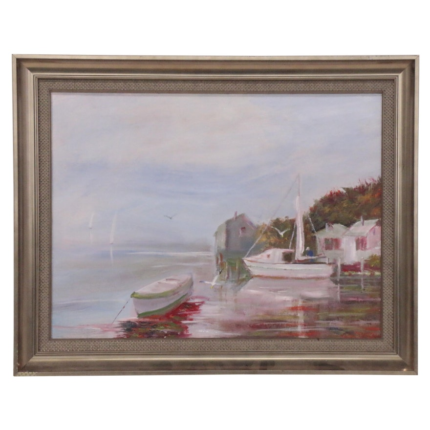 Oil Painting of Harbor Scene, 21st Century