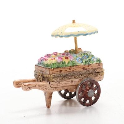 Hand-Painted Flower Cart Porcelain Limoges Box