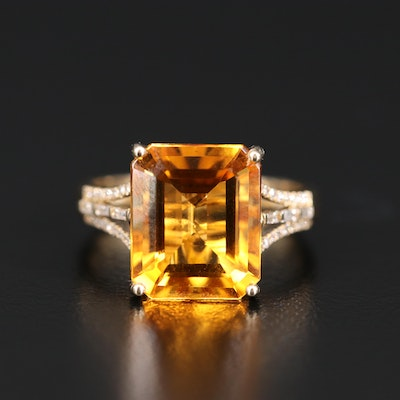 EFFY 14K Citrine and Diamond Ring