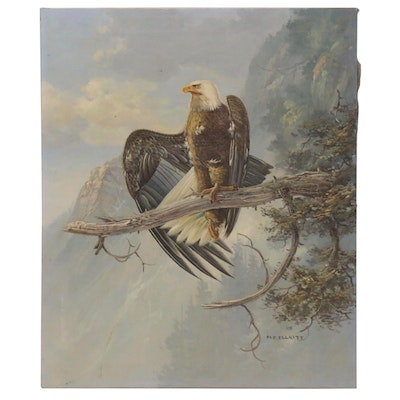 M.P. Elliott Oil Painting of Bald Eagle, Late 20th Century