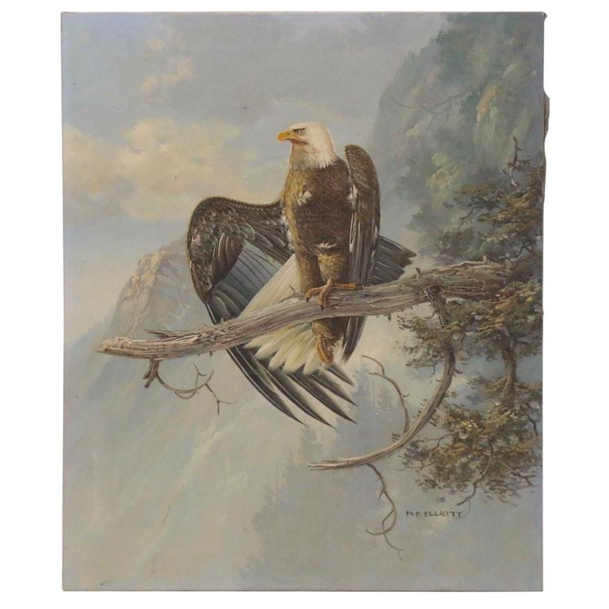 M.P. Elliott Oil Painting of Bald Eagle, Late 20th Century