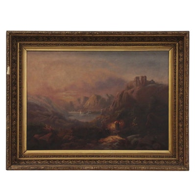 Romantic Style Landscape Oil Painting with Castle, Late 19th Century