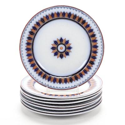 Minton Leaf Motif Porcelain Dinner Plates, 1850s