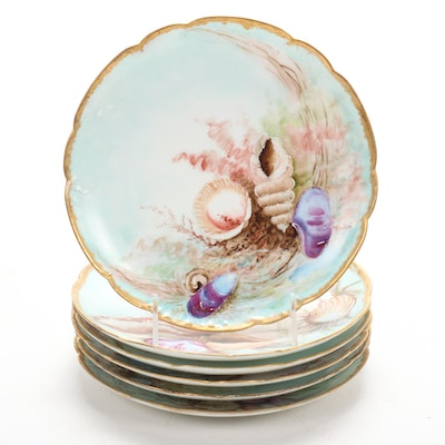 Haviland Hand-Painted Sea Shell Motif China Plates, 1898