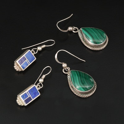 Signed Western Style Earrings Selection Featuring Malachite and Lapis Lazuli