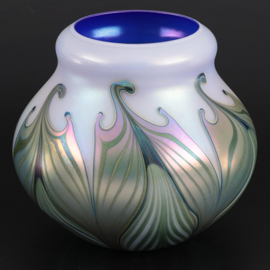 Charles Lotton Pulled Feather Iridescent Art Glass Vase, 1989