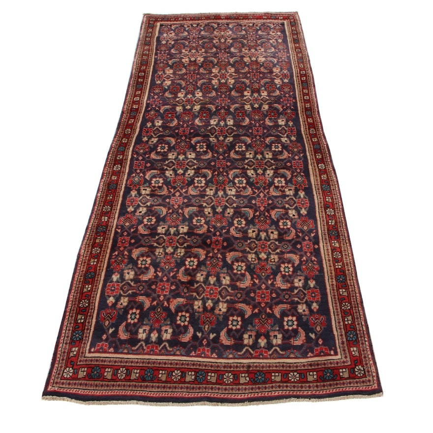 3'6 x 10'2 Hand-Knotted Persian Mahal Long Rug, 1970s