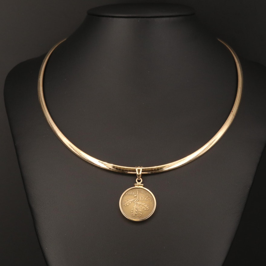 14K Pendant Necklace with 1993 Italian 20-Lire Coin