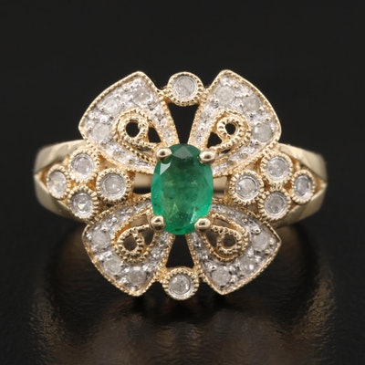 10K Emerald and Diamond Openwork Ring