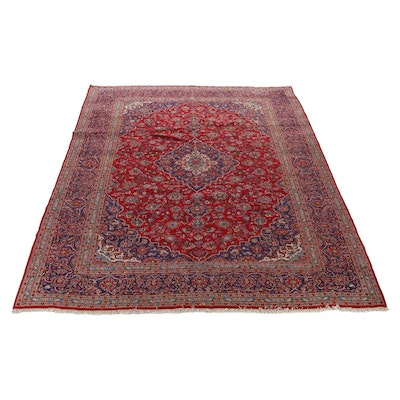 9'8 x 13'8 Hand-Knotted Persian Kashan Room Size Rug, 1970s
