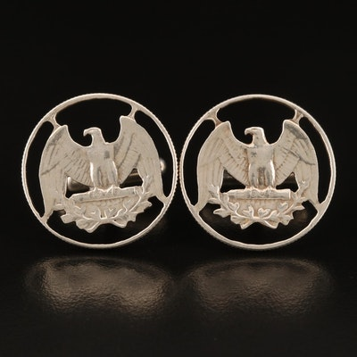Sterling Cufflinks with Two Washington Silver Quarters
