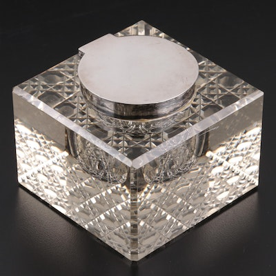 William Hutton & Sons of Sheffield Sterling Silver and Cut  Glass Inkwell, 1910