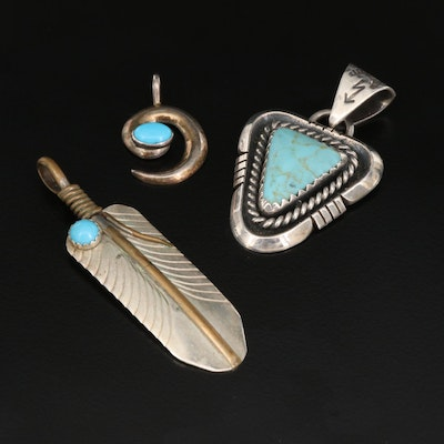 Signed Western Style Turquoise Pendants Featuring Lowell Draper Navajo Diné
