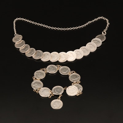 Necklace and Bracelet with Netherlands 10-Cent Silver Coins