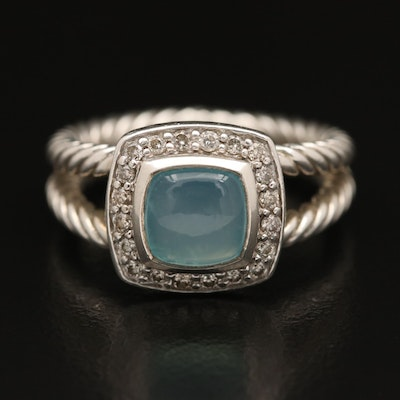 "David Yurman ""Albion"" Sterling Chalcedony and Diamond Ring"