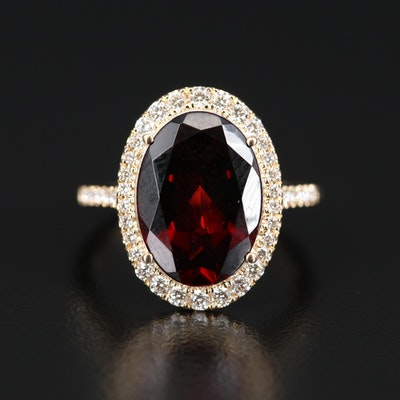 EFFY 14K Garnet and Diamond Halo Ring