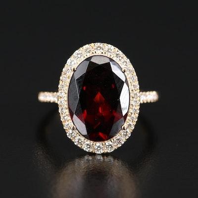 EFFY 14K Garnet and Diamond Halo Ring