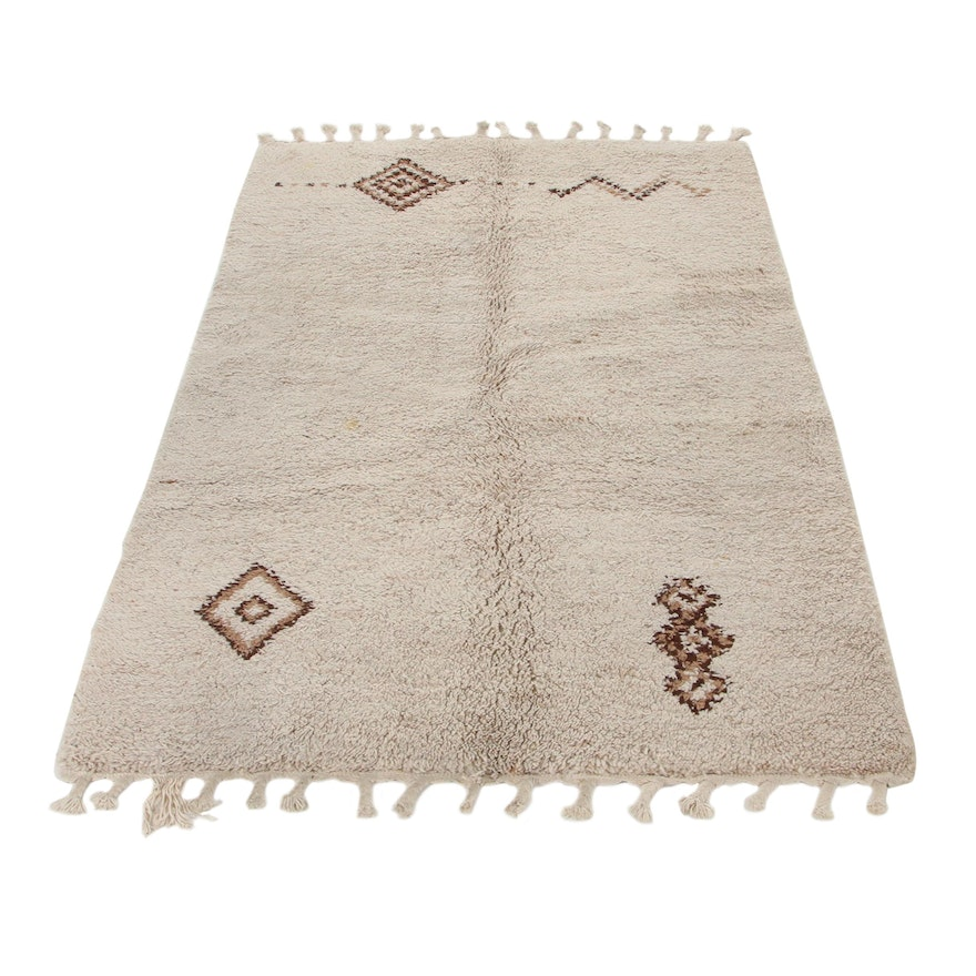 4'6 x 7'7 Hand-Knotted Moroccan Berber Area Rug, 1970s
