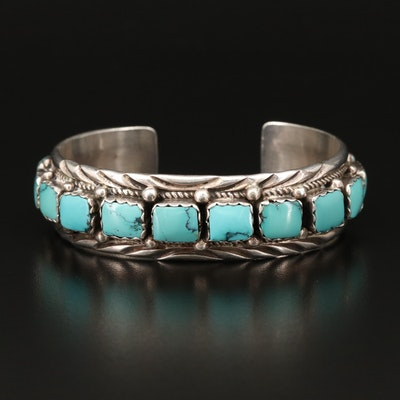 Western Signed J. Johnson Turquoise Sterling Silver Cuff